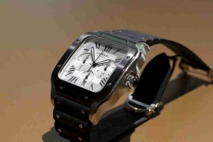 Swiss Replica Cartier Santos Chronograph ADLC Bezel Steel 43.3mm Watches On Sale